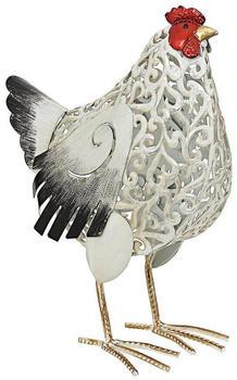 Dehner Metall-Huhn Gundel 27x38x16,5cm Weiß/Schwarz