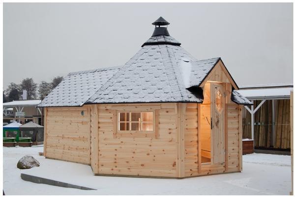 Wolff Grillkota 9 de luxe mit Saunaanbau (376 x 600 cm) mit schwarzen Dachschindeln