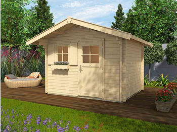 weka-gartenhaus-131-naturbelassen-gartenhuette-mit-fensterladen-blumenkasten-300x300-cm