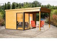 planeo Gartenhaus - Systemhaus Studio 44-B Alu-Anthrazit mit Lounge natur - naturbelassenes Flachdachhaus mit Schiebetür, Einzelfenster und Überdachung