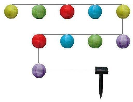 Globo LED-Solarlichterkette Lampions bunt 10er (33971)