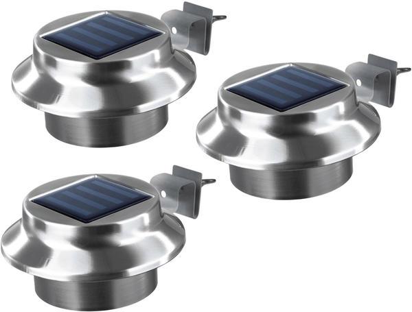 EASYmaxx LED Solar-Dachrinnenleuchte 3er-Set Edelstahl