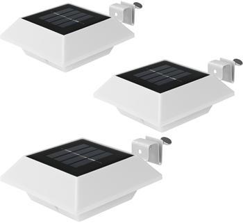 EASYmaxx LED Solar-Dachrinnenleuchte eckig 3er-Set weiß
