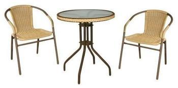 Hansen Rattan Outdoormöbel Set 3-teilig 2 Sessel 1 Tisch (Polyrattan)
