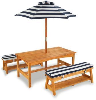 KidKraft Gartentisch und Bänke mit Sitzkissen und Sonnenschirm (00106)