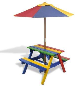 vidaXL Picknicktisch mit Sonnenschirm in 4 Farben (40773)