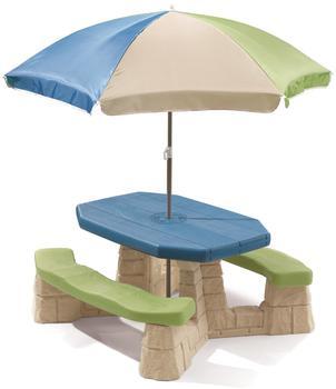 Step2 Picknicktisch Kunststoff mit Sonnenschirm 109x104x52cm grün/blau
