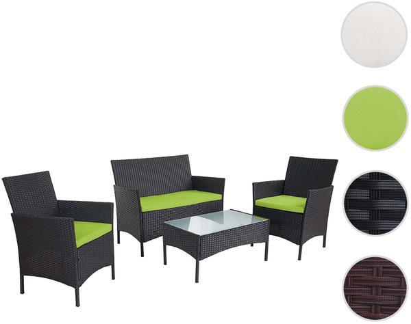 Mendler 2-1-1 Poly-Rattan Garten-Garnitur Halden, Sitzgruppe anthrazit, Kissen grün