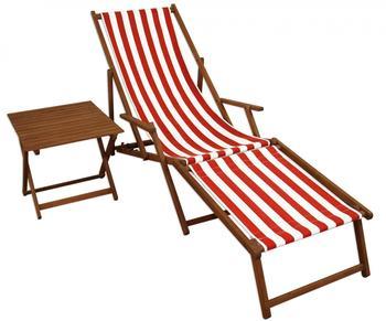 Erst-Holz Liege rot-weiß Fußteil Beistelltisch Deckchair Holz Buche (10-314FT)