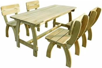 VidaXL Mesa y sillas de exterior 5 uds. madera