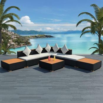 VidaXL Lounge-Set 18-tlg. Poly Rattan WPC Schwarz (42756)