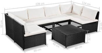 VidaXL Gartensofa-Set 21-tlg. Poly Rattan schwarz/cremeweiß (44191)