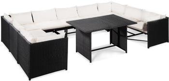 VidaXL Gartensofa-Set 32-tlg. Poly Rattan schwarz/cremeweiß (4419)