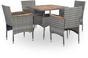 VidaXL Outdoor furniture 5 pcs poly-rattan and acacia grey (46168)