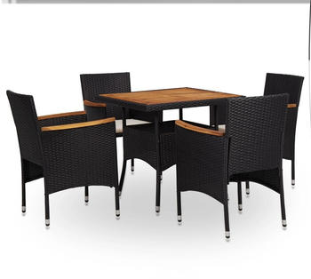 VidaXL Outdoor furniture 5 pcs poly-rattan and acacia black (46167)