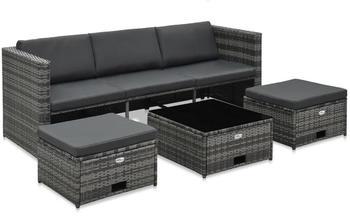 vidaXL Garten-Lounge-Set mit Auflagen Grau (48145)