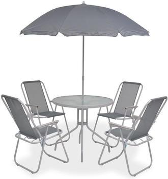 vidaXL 6-teilige Outdoor-Essgruppe Textilene Gewebe grau (43785)