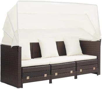 vidaXL 3-Sitzer-Schlafsofa mit Dach Poly Rattan braun/creme (46076)