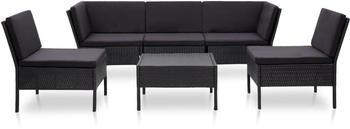 vidaXL Garten-Lounge-Set mit Auflagen Poly Rattan schwarz (48949)