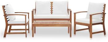 vidaXL Garten-Lounge-Set mit Auflagen 4-tlg. creme (47283)