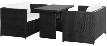 vidaXL 3-tlg. Garten-Lounge-Set mit Auflagen Poly Rattan schwarz (43913)