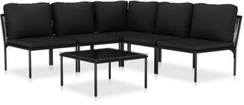 vidaXL 6-tlg. Garten-Lounge-Set mit Auflagen schwarz (48588)