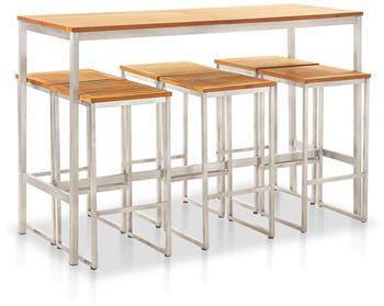 vidaXL Bar Set 7 Pieces Teak and Steel