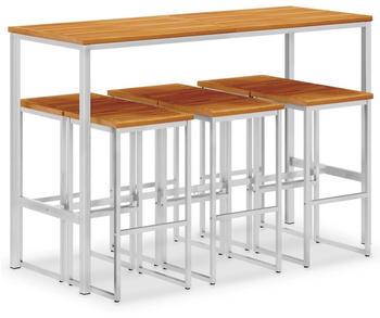 vidaXL Bar Set 7 Pieces Acacia Wood and Steel