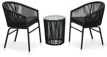vidaXL Bistro Set in Rattan 3 Pieces Black