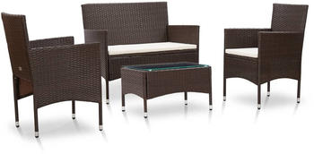 vidaXL Garden Set With Chairs and Table in Braided Resin Brown 4 Pieces