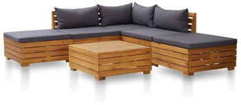 vidaXL Garden Set in Acacia Wood Dark Grey Pillows