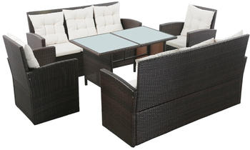 vidaXL Garden Set in Resin with Cushions Brown/White (5 Pieces)
