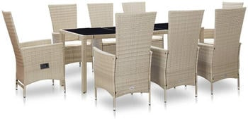 vidaXL Garden Set in Beige Resin (9 Pieces)