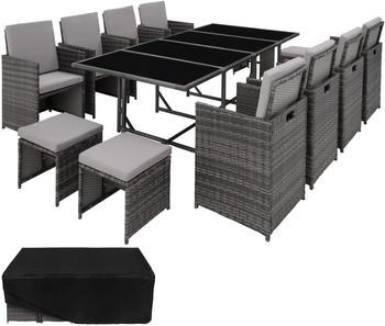 TecTake Palma Rattan Sitzgruppe 8+4+1 mit Schutzhülle Variante 2 grau (TT403864)