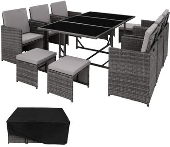 TecTake Malaga Rattan Sitzgruppe 6+4+1 mit Schutzhülle grau (TT403867)