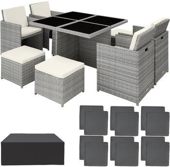 TecTake Manhattan Aluminium Rattan Sitzgruppe 4+4+1 mit Schutzhülle Variante 2 hellgrau (TT403756)