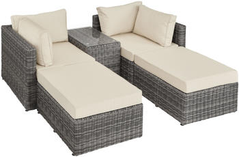 TecTake San Domino Rattan Lounge mit Aluminiumgestell grau (TT403169)