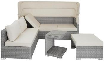 TecTake San Marino Rattan Lounge mit Aluminiumgestell hellgrau (TT403712)