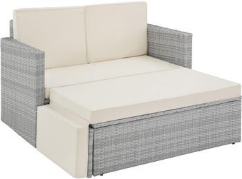 TecTake Korfu Rattan Lounge Variante 2 hellgrau (TT403687)