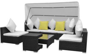 VidaXL vidaXL 7-tlg. Lounge-Set inkl. Sonnendach Polyrattan schwarz (42750)