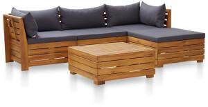 vidaXL 5-tlg. Garten-Sofagarnitur mit Auflagen Akazienholz Dunkelgrau