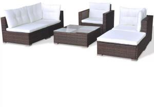 VidaXL vidaXL 6-tlg. Lounge-Set mit Auflagen Poly Rattan braun (41873)