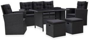 vidaXL 6-tlg. Garten-Lounge-Set mit Kissen Poly Rattan Schwarz