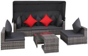 vidaXL 7-tlg. Lounge-Set inkl. Auflagen Polyrattan grau (44428)