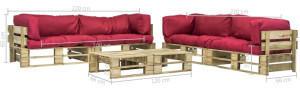 VidaXL vidaXL 6-tlg. Lounge-Set Paletten rote Auflagen Holz (275328)