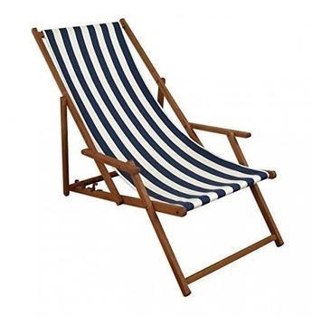 Erst-Holz Deckchair Buche dunkel blau-weiß (10-317)