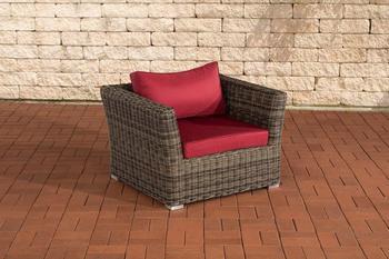 CLP Sessel Mandal rund graumeliert rubinrot