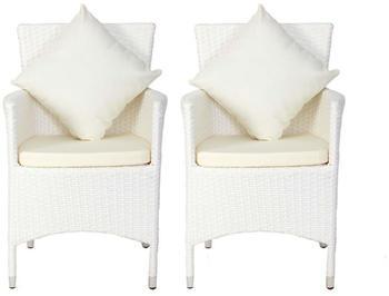 Outflexx 2er-Set Sessel weiß Polyrattan inkl. Polster und Kissen weiß/creme (2x2402-S)