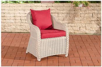 Clp Polyrattan Sessel Farsund-rund-perlweiß-Rubinrot CLP