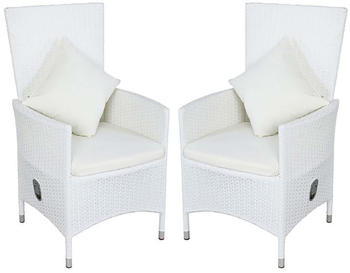 Outflexx 2er-Set Sessel weiß Polyrattan inkl. Kissen weiß/creme (2x3332)